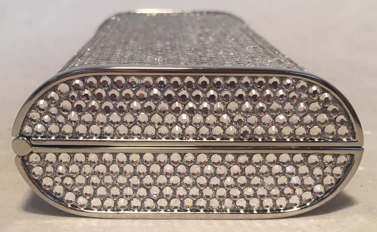 Judith Leiber Silver Clear Swarovski Crystal Minaudiere Evening Bag Clutch In Excellent Condition For Sale In Philadelphia, PA