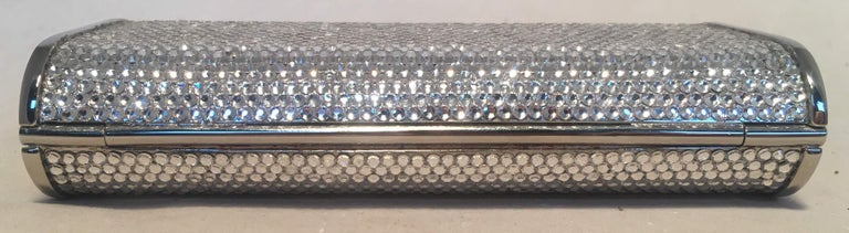 Women's Judith Leiber Silver Clear Swarovski Crystal Minaudiere Evening Bag Clutch For Sale