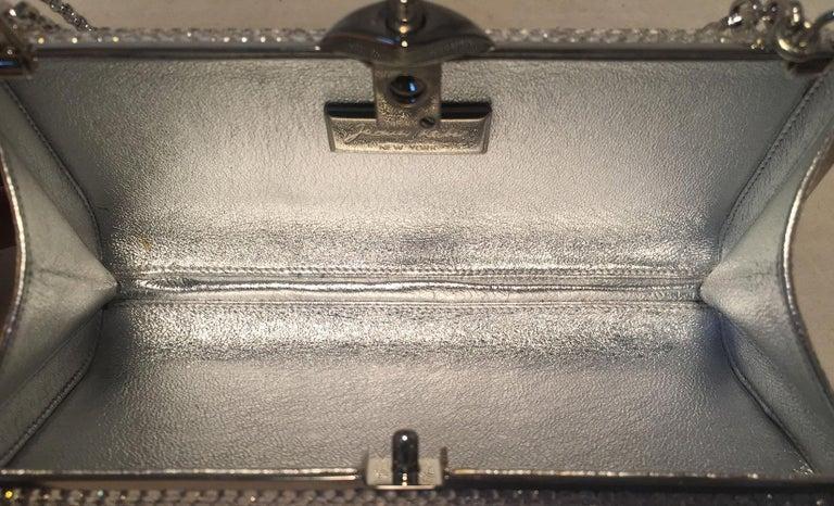 Judith Leiber Silver Clear Swarovski Crystal Minaudiere Evening Bag Clutch For Sale 1
