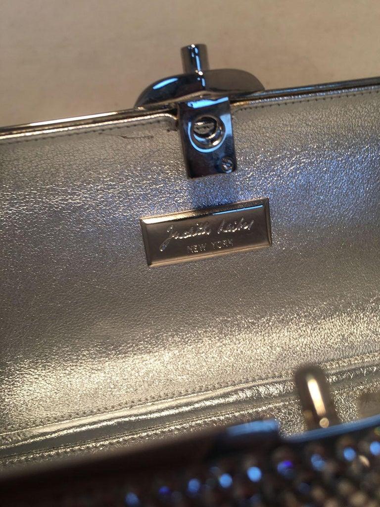 Judith Leiber Silver Clear Swarovski Crystal Minaudiere Evening Bag Clutch For Sale 2