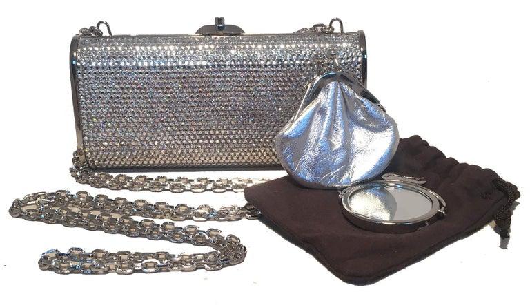 Judith Leiber Silver Clear Swarovski Crystal Minaudiere Evening Bag Clutch For Sale 3