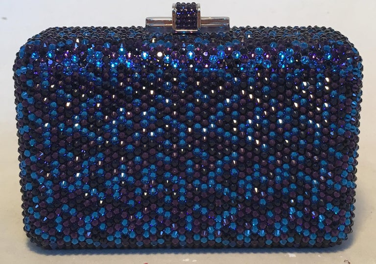 Black Judith Leiber Blue and Purple Swarovski Crystal Minaudiere Evening Bag Clutch For Sale