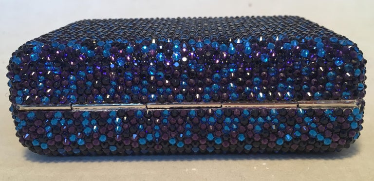 Judith Leiber Blue and Purple Swarovski Crystal Minaudiere Evening Bag Clutch In Excellent Condition For Sale In Philadelphia, PA