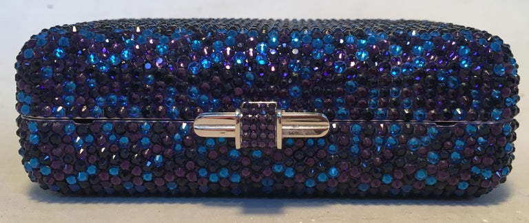 Women's Judith Leiber Blue and Purple Swarovski Crystal Minaudiere Evening Bag Clutch For Sale
