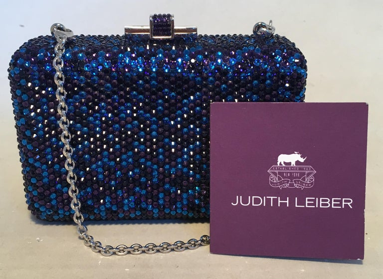 Judith Leiber Blue and Purple Swarovski Crystal Minaudiere Evening Bag Clutch For Sale 3