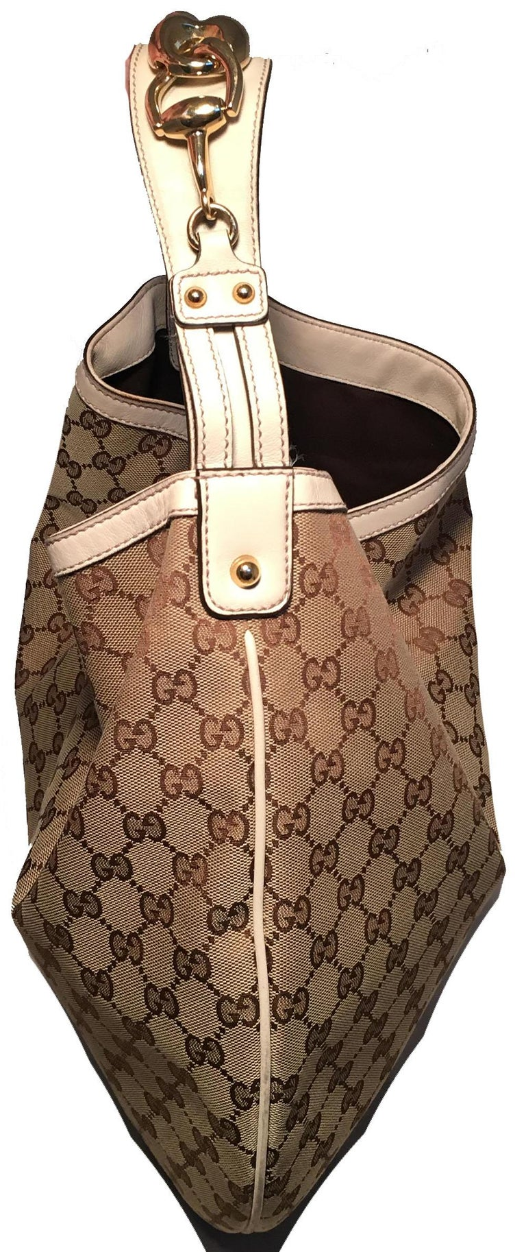 7376a6c5829909 CLASSIC Gucci GG Monogram Canvas and Beige Leather Hobo Shoulder Bag in  excellent condition. Monogram