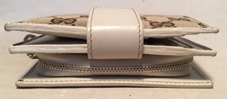 ea20028e860ce0 Women's or Men's Gucci GG Monogram and Beige Leather Wallet with Zip Pocket  and Box For