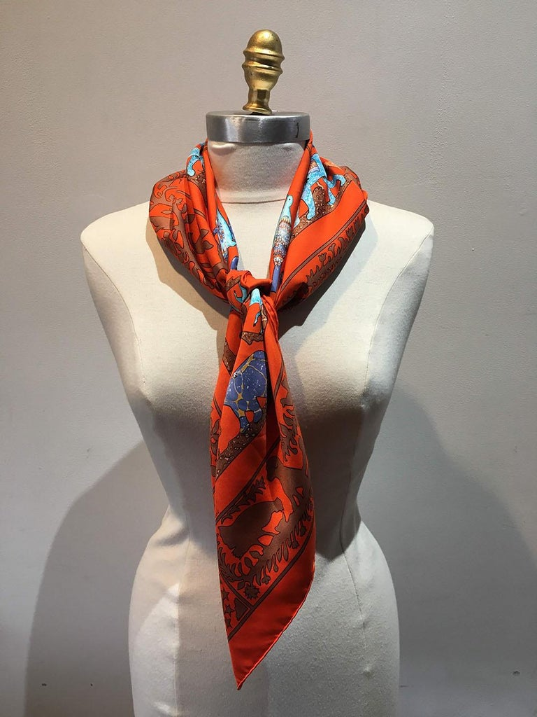 Red Hermes Early America Orange Silk Scarf For Sale