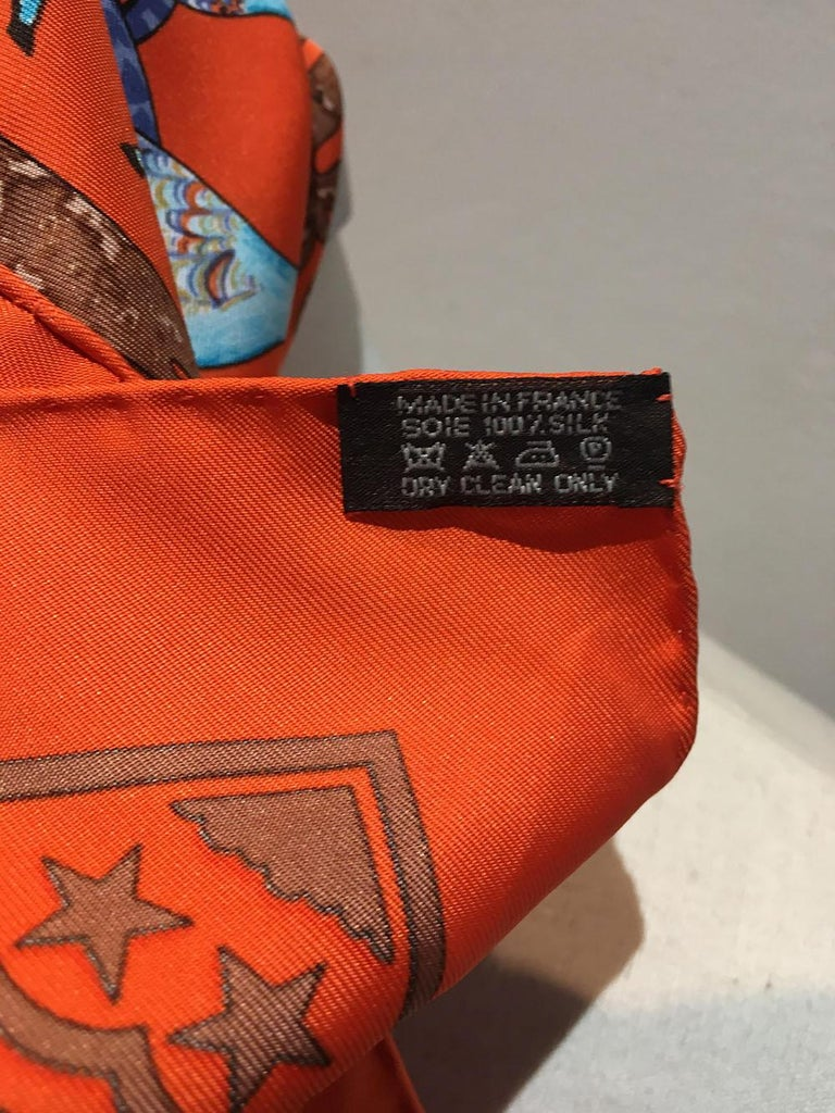 Hermes Early America Orange Silk Scarf In Excellent Condition For Sale In Philadelphia, PA