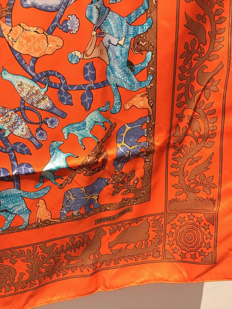 Women's or Men's Hermes Early America Orange Silk Scarf For Sale