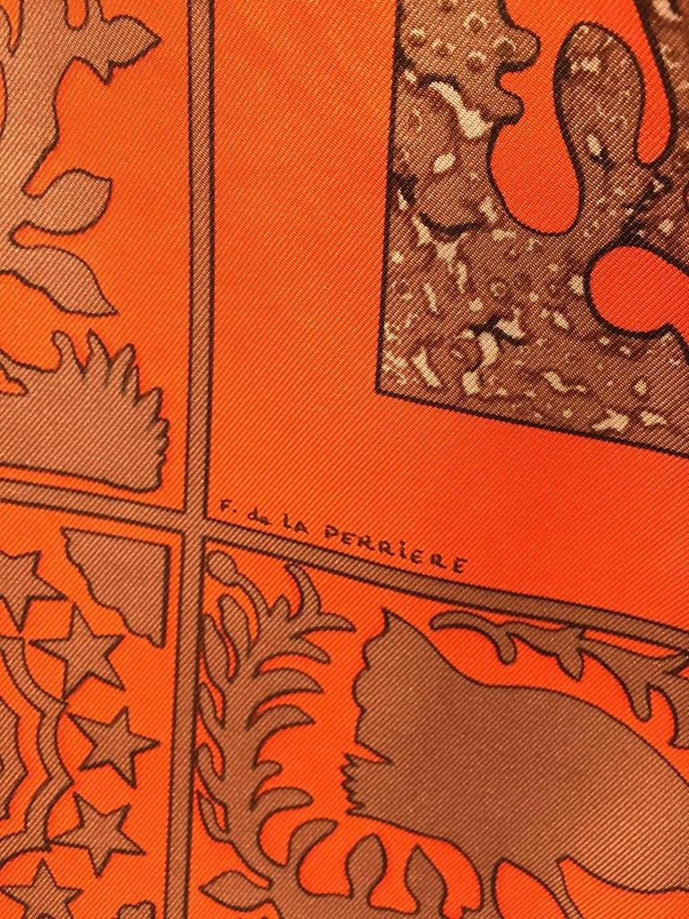 Hermes Early America Orange Silk Scarf For Sale 1