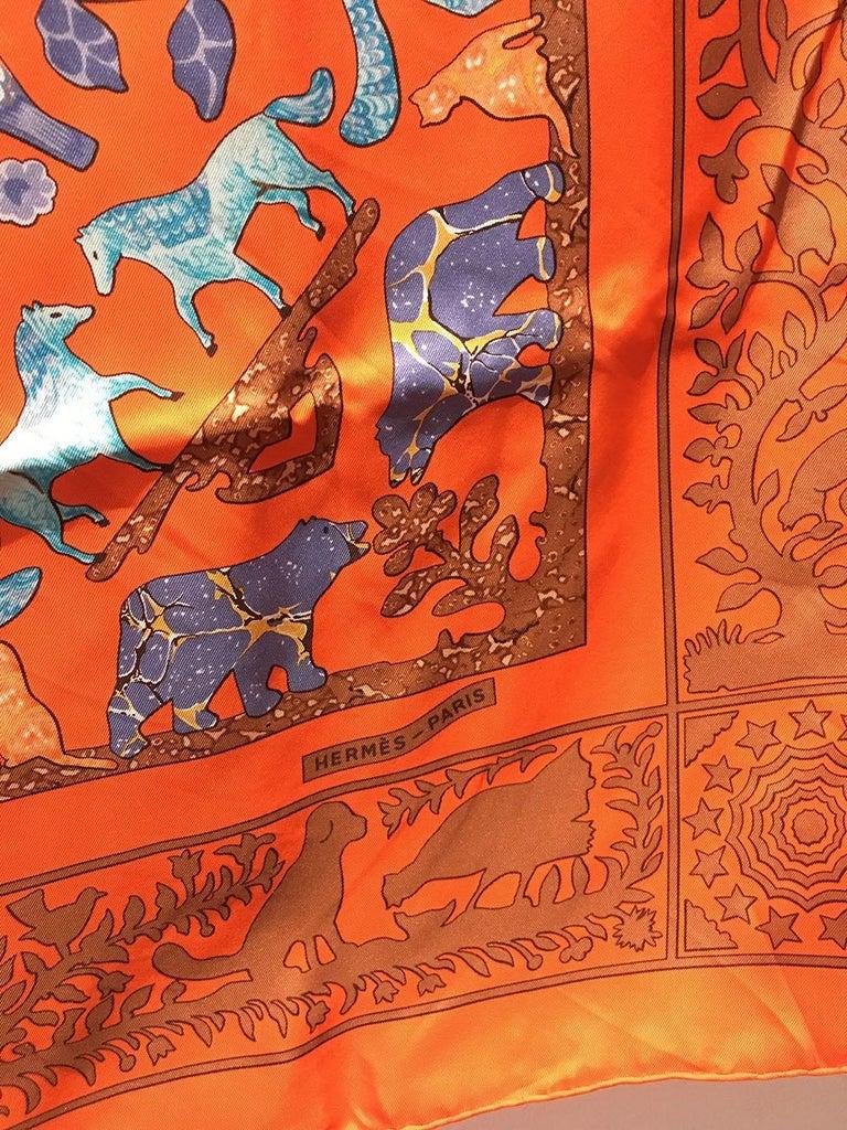 Hermes Early America Orange Silk Scarf For Sale 2