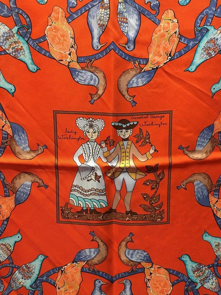 Hermes Early America Orange Silk Scarf For Sale 3