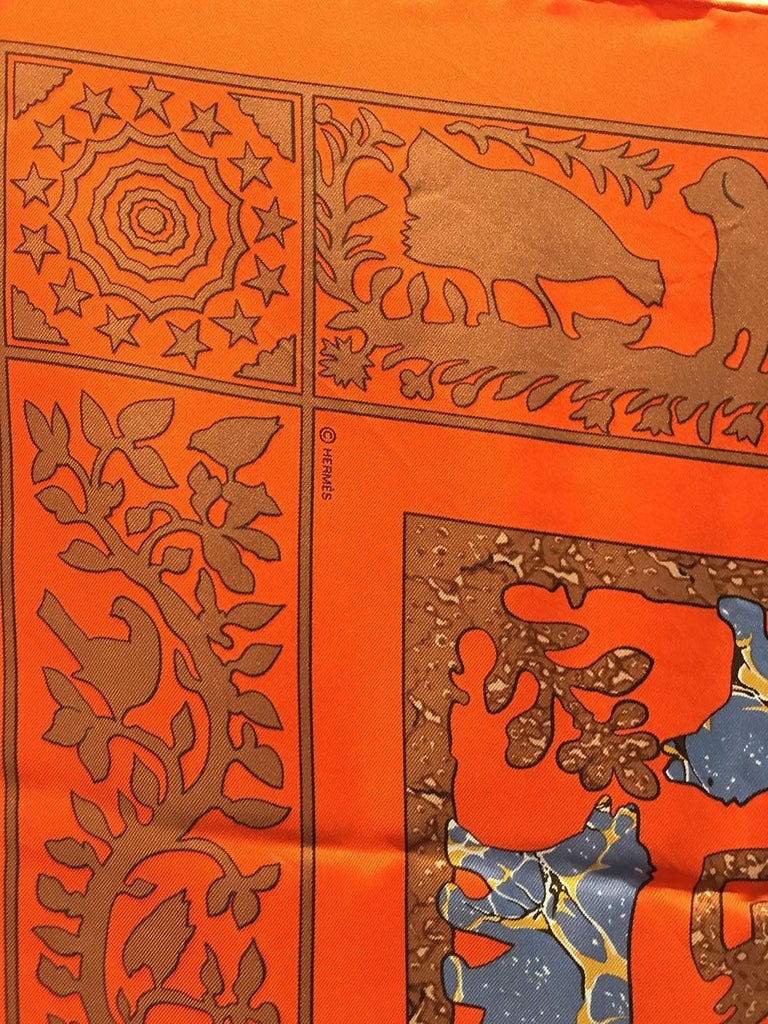 Hermes Early America Orange Silk Scarf For Sale 4