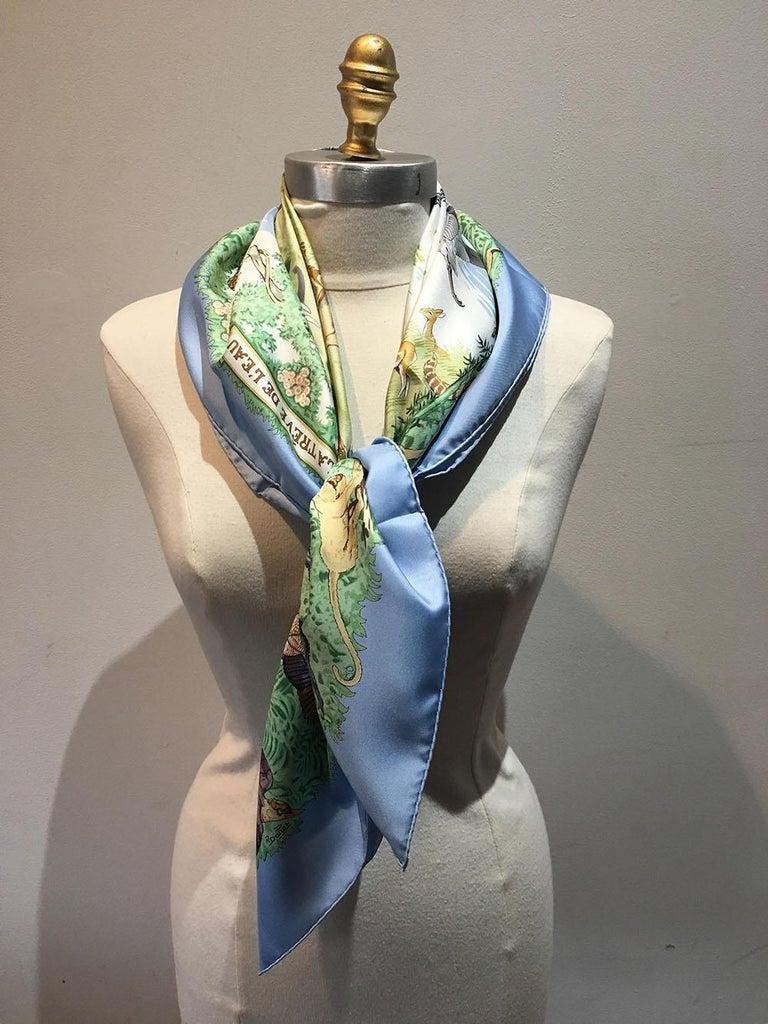 Gray Hermes La Treve de l'Eau Silk Scarf in Baby Blue For Sale