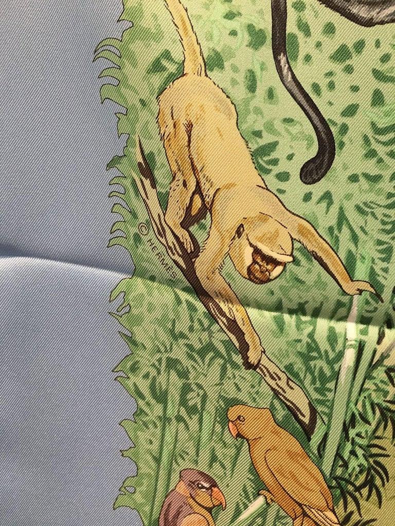 Hermes La Treve de l'Eau Silk Scarf in Baby Blue For Sale 3