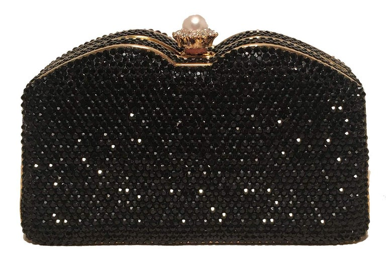 Judith Leiber Black Swarovski Crystal Minaudiere Evening Bag Clutch In Excellent Condition For Sale In Philadelphia, PA
