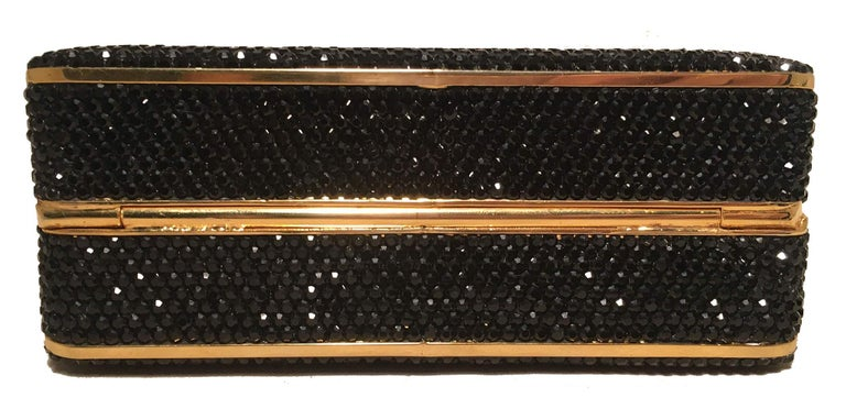 Women's Judith Leiber Black Swarovski Crystal Minaudiere Evening Bag Clutch For Sale