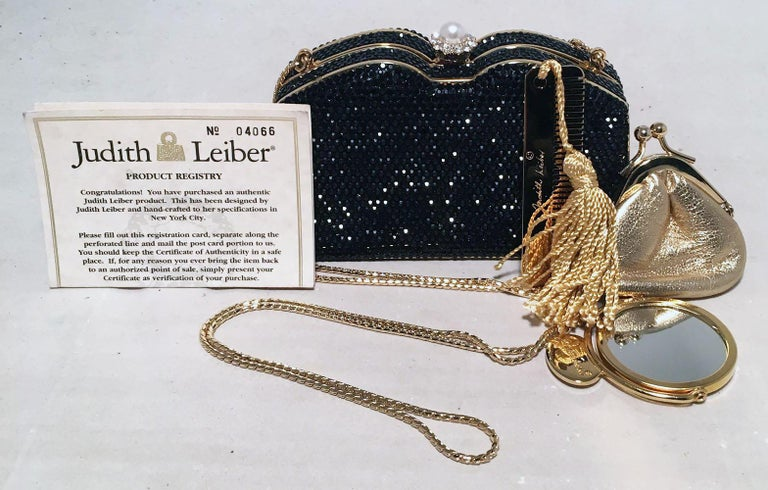 Judith Leiber Black Swarovski Crystal Minaudiere Evening Bag Clutch For Sale 3