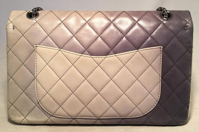 Brown CHANEL Double Hybrid Degrade Ombre Grey Leather 2.55 Reissue 227  Classic Flap For Sale 007ed6b183ebb
