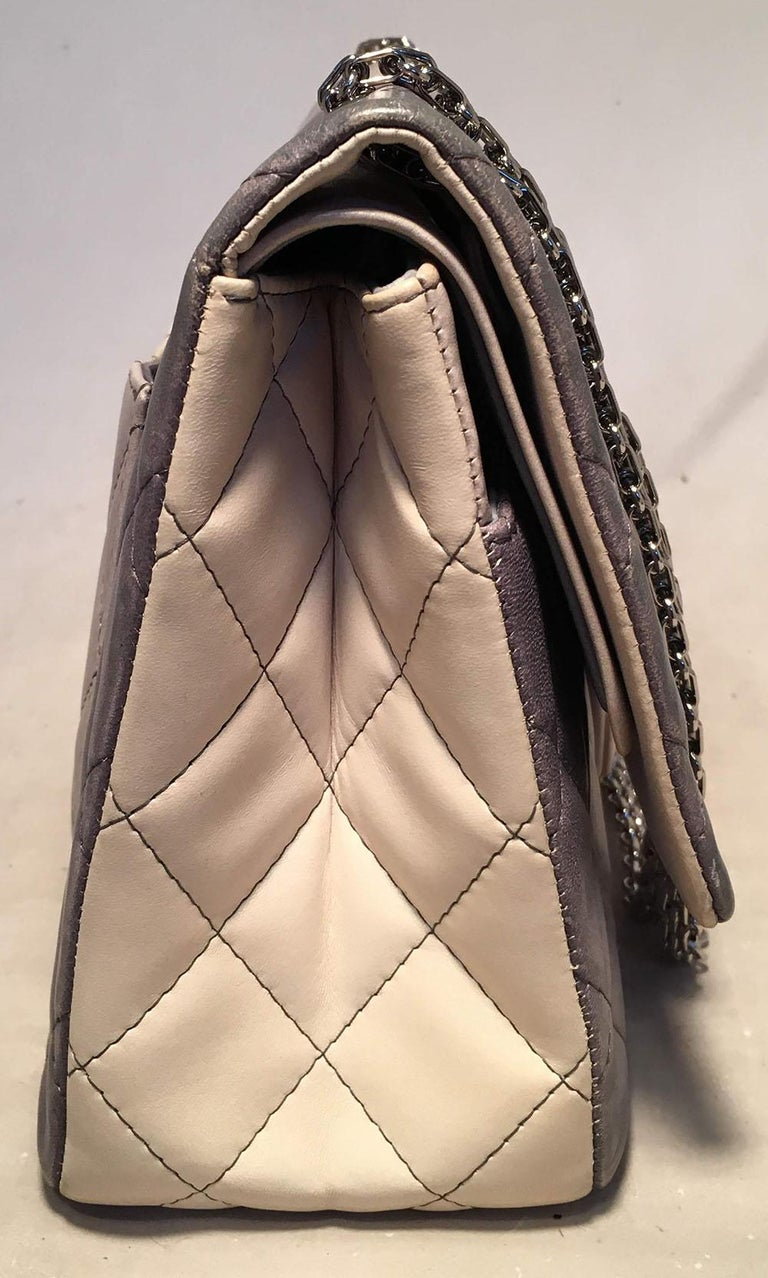 42455839dac3 CHANEL Double Hybrid Degrade Ombre Grey Leather 2.55 Reissue 227 Classic  Flap In Excellent Condition For