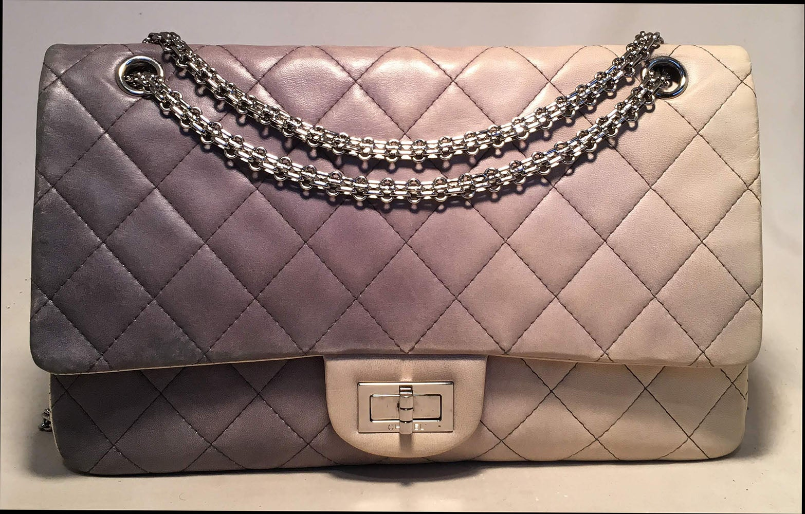 CHANEL Double Hybrid Degrade Ombre Grey Leather 2.55 Reissue 227 Classic  Flap For Sale at 1stdibs 85690138927f5