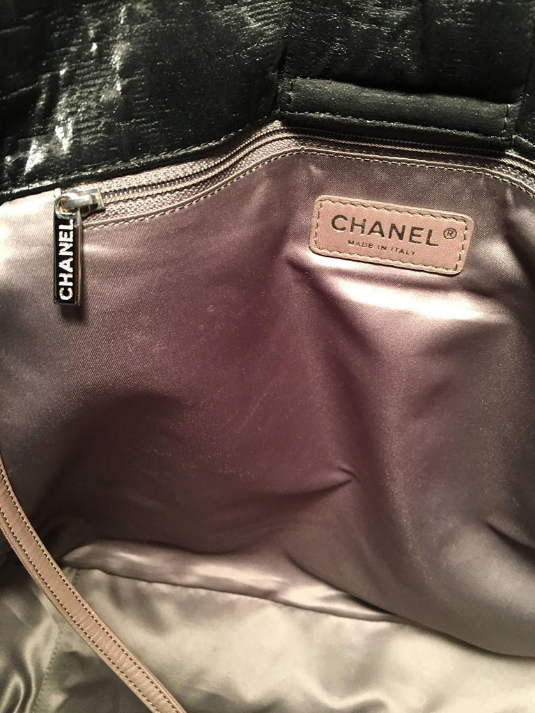 Chanel Black Shimmery Soft Quilted Leather Tote Bag For Sale 3