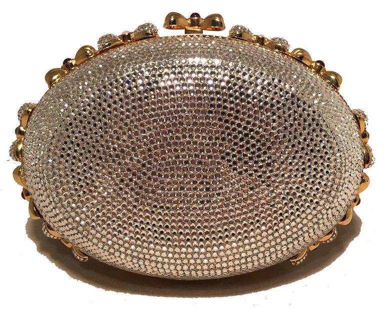 Brown Judith Leiber Swarovski Crystal Oval Bow Trim Minaudiere Evening Bag Clutch For Sale