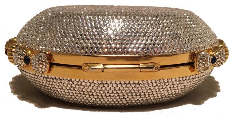 Women's Judith Leiber Swarovski Crystal Oval Bow Trim Minaudiere Evening Bag Clutch For Sale