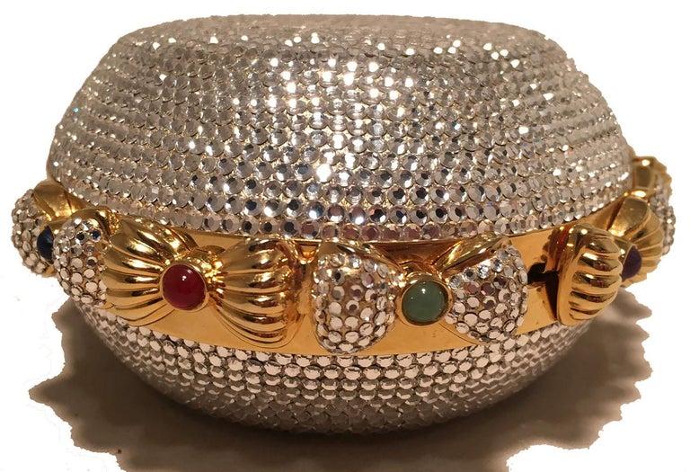 Judith Leiber Swarovski Crystal Oval Bow Trim Minaudiere Evening Bag Clutch For Sale 1