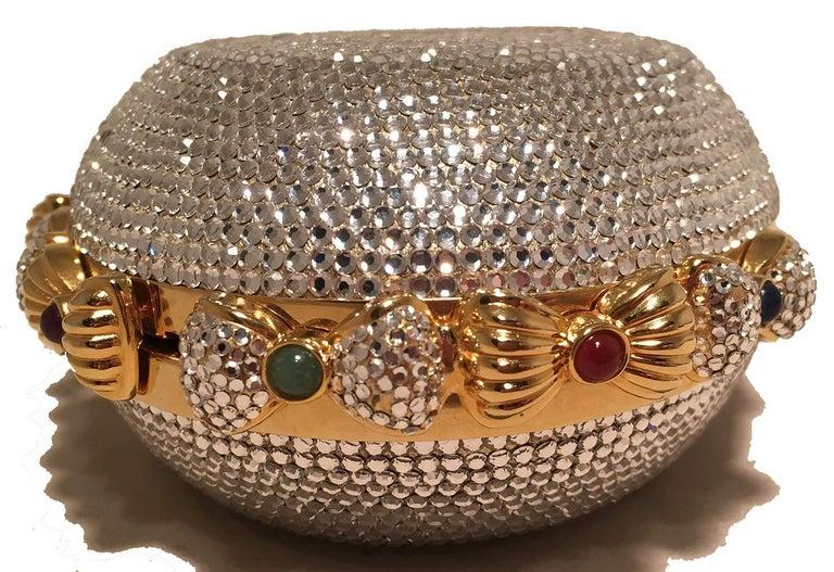Judith Leiber Swarovski Crystal Oval Bow Trim Minaudiere Evening Bag Clutch For Sale 2