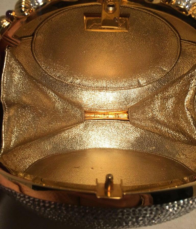 Judith Leiber Swarovski Crystal Oval Bow Trim Minaudiere Evening Bag Clutch For Sale 3