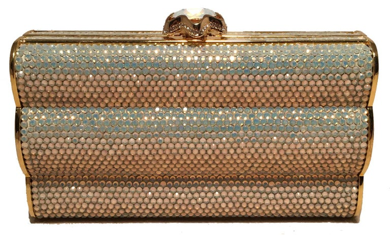 053acf60268 Brown Judith Leiber Iridescent Swarovski Crystal Gold Minaudiere Evening  Bag Clutch For Sale