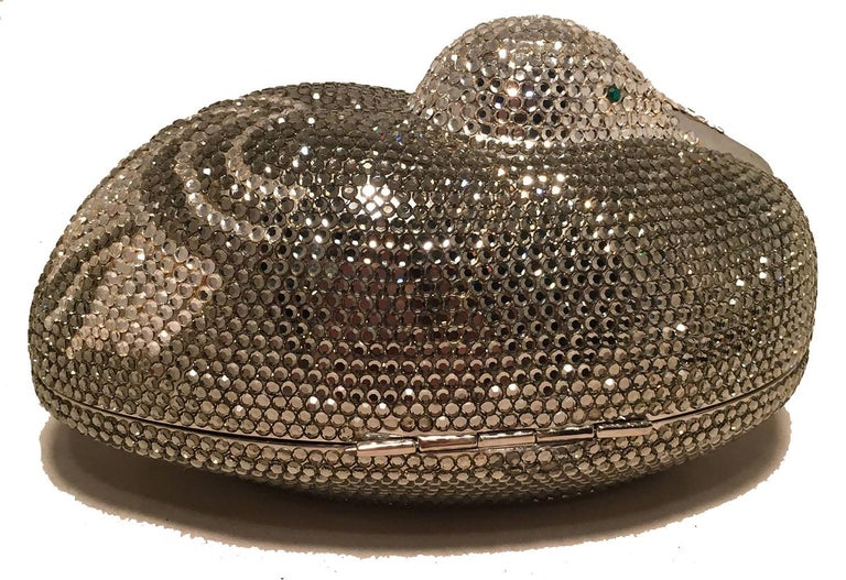 Black Judith Leiber Vintage Silver and Gray Swarovski Crystal Sitting Duck Minaudiere For Sale