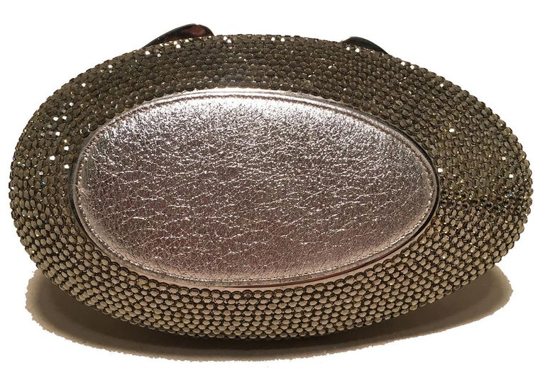 Women's Judith Leiber Vintage Silver and Gray Swarovski Crystal Sitting Duck Minaudiere For Sale