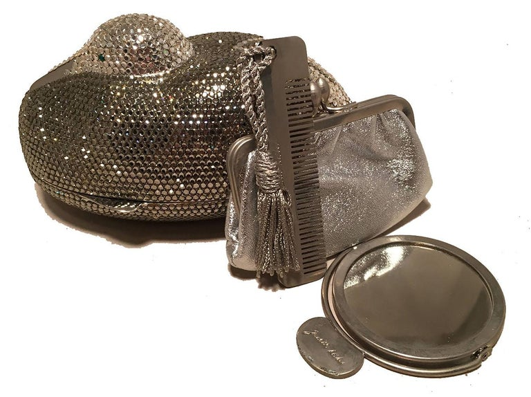 Judith Leiber Vintage Silver and Gray Swarovski Crystal Sitting Duck Minaudiere For Sale 4