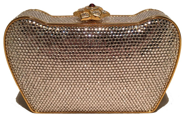 Brown Judith Leiber Clear Swarovski Crystal Flower Top Minaudiere Evening Bag Clutch  For Sale