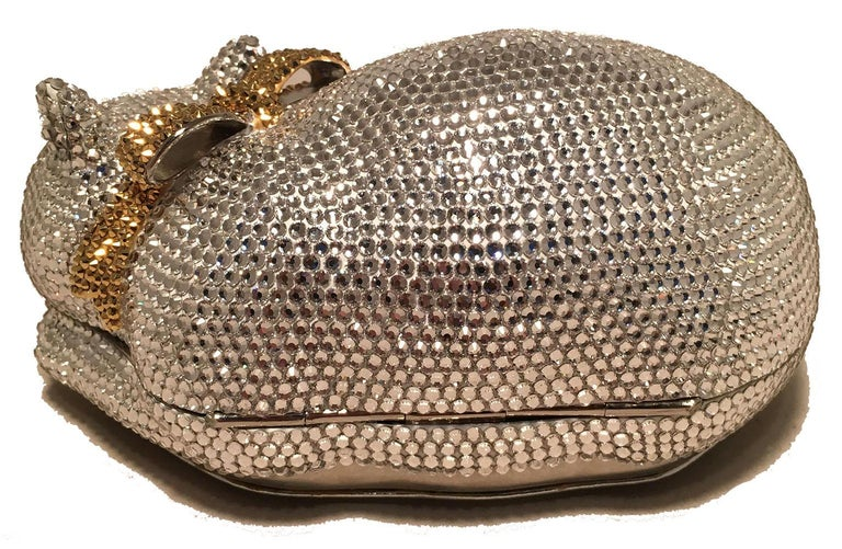 Brown Judith Leiber Clear Swarovski Crystal Cat Minaudiere with Gold Bow For Sale