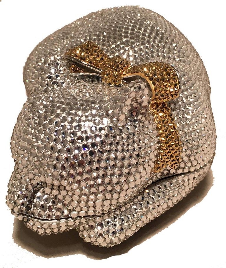 Judith Leiber Clear Swarovski Crystal Cat Minaudiere with Gold Bow In Excellent Condition For Sale In Philadelphia, PA