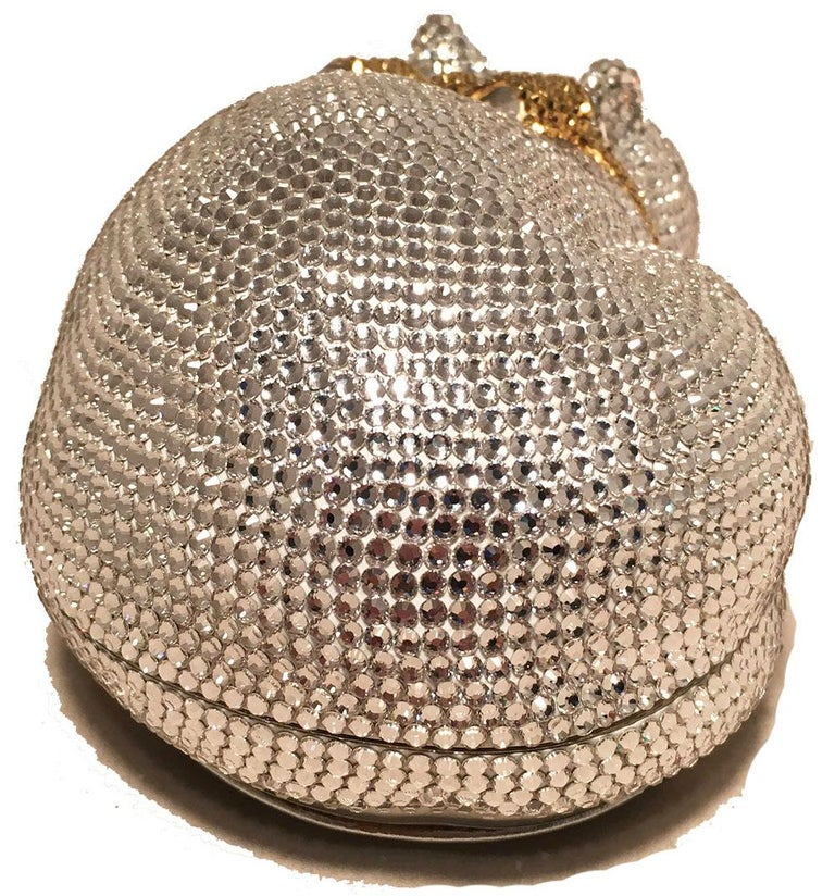 Women's Judith Leiber Clear Swarovski Crystal Cat Minaudiere with Gold Bow For Sale