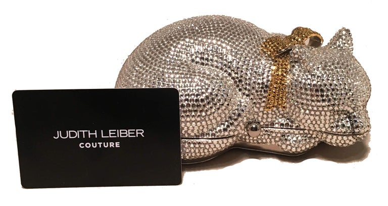 Judith Leiber Clear Swarovski Crystal Cat Minaudiere with Gold Bow For Sale 5