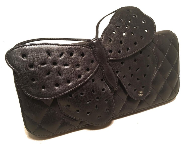 Chanel Quilted Black Leather Butterfly Classic Flap Shoulder Bag For Sale 1