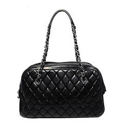 Chanel Black Quilted Medium Shopper Tote Shoulder Bag