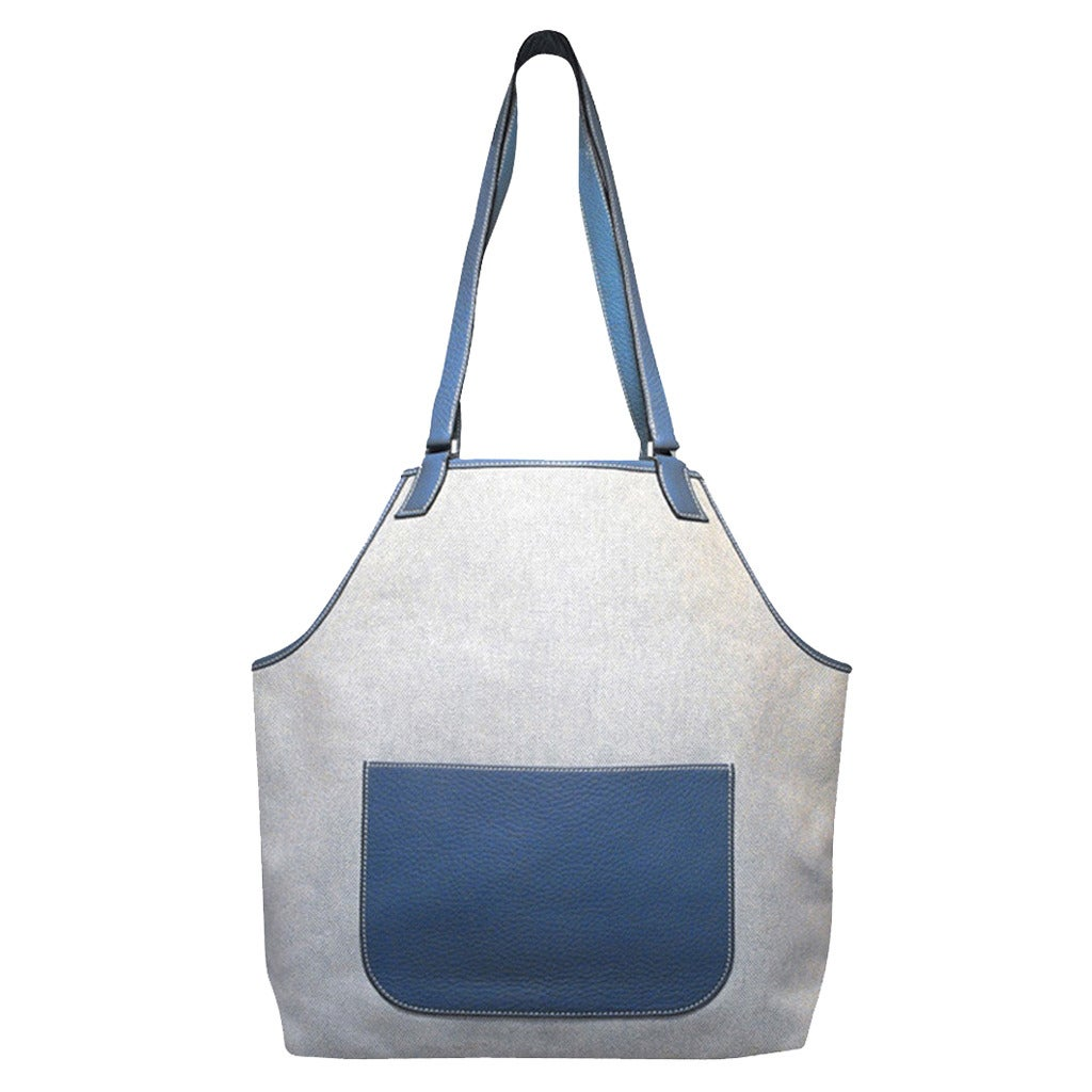 Hermes Canvas Toile and Blue Clemence Leather Apron Shoulder Tote Bag
