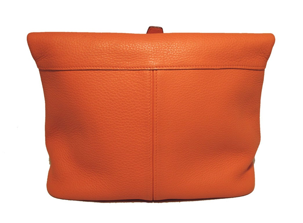 Hermes Rare Orange Clemence Leather Fold Over Clutch For Sale 1
