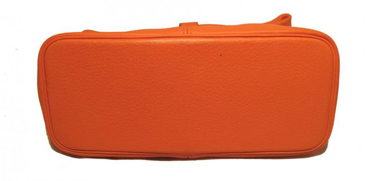Hermes Rare Orange Clemence Leather Fold Over Clutch In Excellent Condition For Sale In Philadelphia, PA