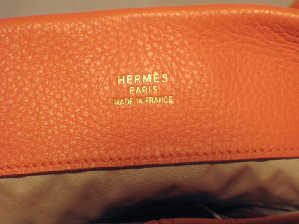 Hermes Rare Orange Clemence Leather Fold Over Clutch For Sale 2