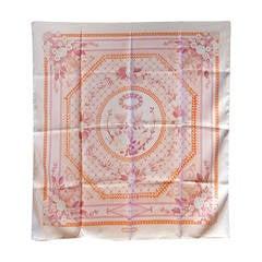 Authentic Hermes Vintage Jeux De Paille Pink Silk Scarf