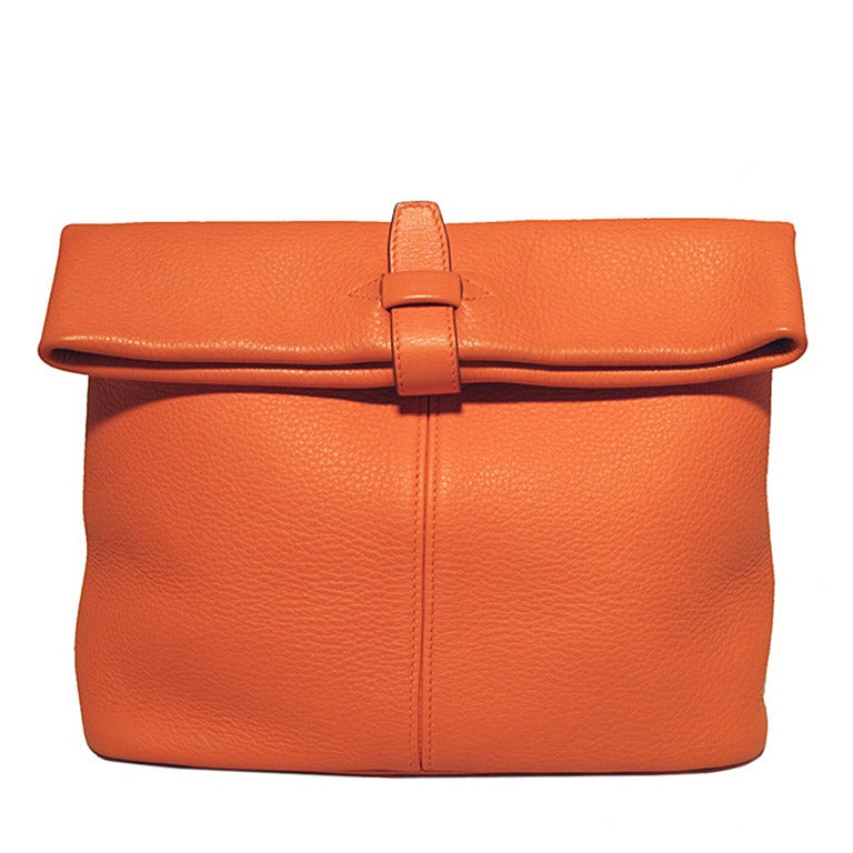Hermes Rare Orange Clemence Leather Fold Over Clutch For Sale