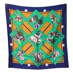 Hermes Vintage Le Monde Du Polo Silk Scarf C1970s
